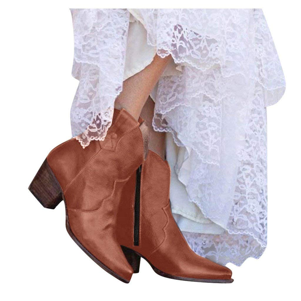 Veodhekai Women Low Heel Boots Ankle Knee Side Zip Bare Boots Square Heel Casual Short Booties Roman Shoes Brown by Veodhekai