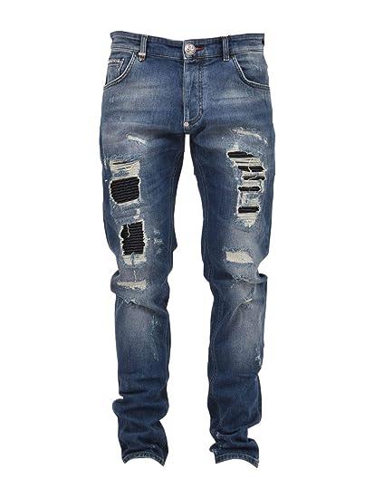 Philipp Luxury Jeans Mdt0715pde001n08 Bleu Plein Fashion Homme wX8OP0kn