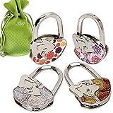 BMC Cute 4pc Mixed Designed Shoulder Handbag Folding Purse Holder Hangers Hooks Set - Live, Laugh, Yoga
