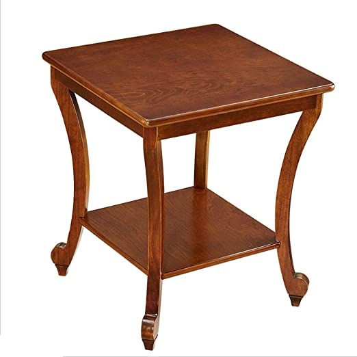NAN Liang Mesa auxiliar Madera | Jardín Patio Conservatorio Sala de estar | Mesa de café con bocadillos | Almacenamiento pregrasado de madera maciza | Mesas plegables de 50x50x57.5cm (Color: color madera):