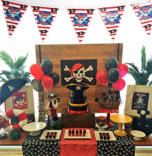Amazon.com: PartyWoo Pirate Balloons, 43 pcs 12 in Black Red ...