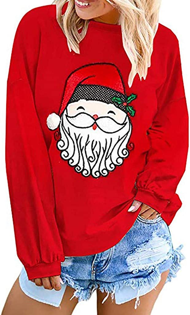 Simayixx Womens Christmas Sweatshirt Long Sleeve Santa Claus Printed Pullover Tops Loose Round Neck Coat Shirt