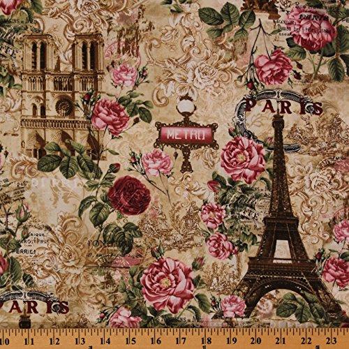 Paris Metro Eiffel Tower - Cotton Floral Paris Eiffel Tower Metro Roses Beige Vintage Cotton Fabric Print by The Yard (D461.05)