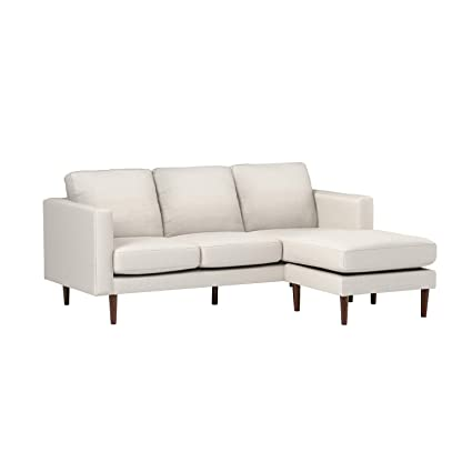 Rivet Revolve Modern Reversible Chaise Sectional, Linen, 80