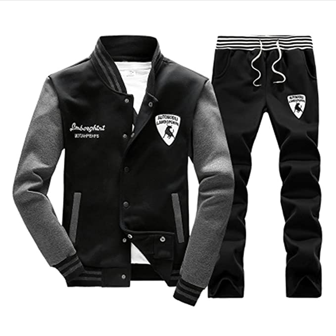 Mens Tracksuit Set Hoodie Top /& Bottoms Joggers Gym Plain Zip Pockets Suits 2XL.