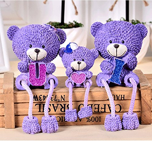 (NEWNESS WORLD 3pcs set Lovely resin purple Teddy Bear LOVE for lovers/home decoration/ornament)
