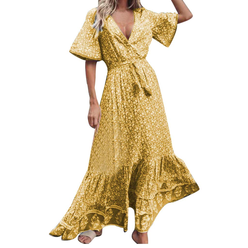 Sanyyanlsy Women's Floral Print Ruffled Hem Tassel Ruched Flared Sleeve Deep V-Neck Floor Length Dress Holiday Beach Yellow by Sanyyanlsy