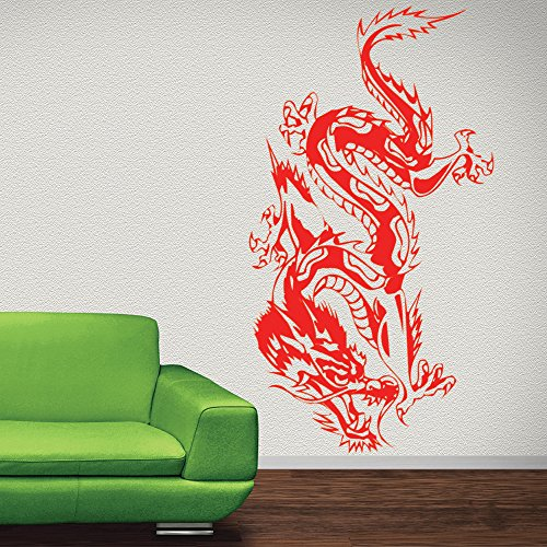 Oriental Crawling Dragon Fantasy Dragons Wall Stickers Home Decor Art Decals available in 5 Sizes and 25 colors Large Basalt (Crawling Dragon)