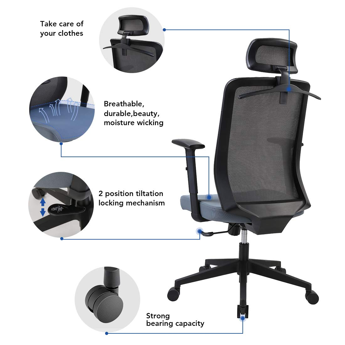 Excellent Flexispot Oc2U Ergonomic Office Chair With Adjustable Head Ocoug Best Dining Table And Chair Ideas Images Ocougorg