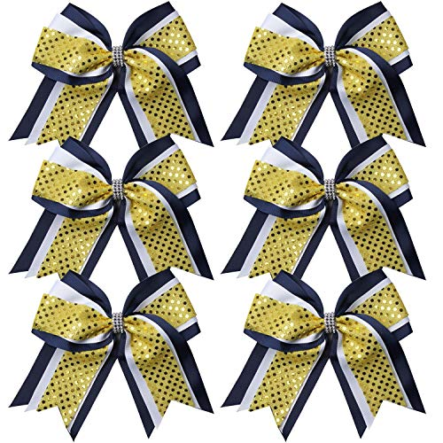 Cheerleader Bows 8 Inch 3 Layers 6 Pcs Ponytail Holder Jumbo Cheerleading Bows Hair Elastic Hair Tie for High School College (Navy/White/Yellow) (Bows And Gold Blue Cheer)