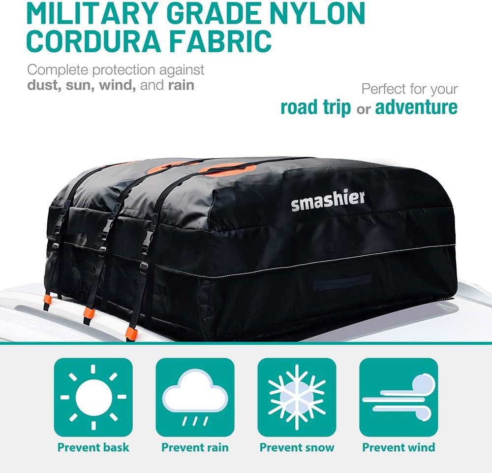 100/% Waterproof Military Grade Nylon Cordura Fabric Night Reflective Strip /& Anti-Slip Mat Incl Smashier Car Rooftop Cargo Carrier Bag 16 Cubic Ft Roof Bag for Safe Journey Heavy-Duty Zipper