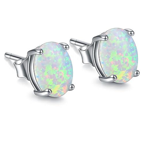 f0f57bf29407e Simulated Fire Opal earrings Sterling Silver, Oval Opal Studs Earrings for  Women