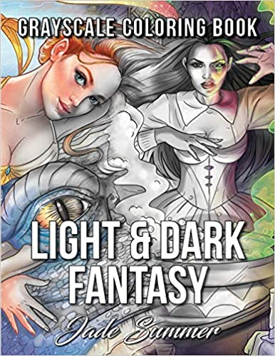 Light Dark Fantasy A Grayscale Coloring Book Collection With