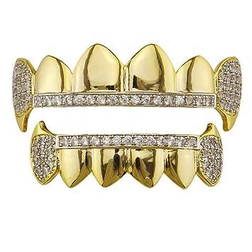 Parrillas de dientes Chapado en oro Cruz Rhinestone ...