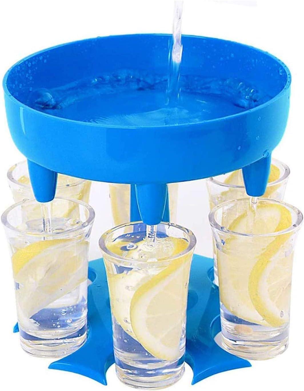 6 Shot Glass Dispenser, Holder Stand Rack with 6 Shot Glasses Silicone Plug, Multiple Bar Cocktail Shot Dispenser, Carrier Liquor Drinking Games Wine Dispenser Gifts for Parties, Carnival