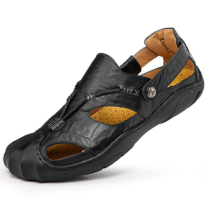 Amazon.com | Sun Country Men Leather Sandals Closed Toe Comfy Footwear Fashion Beach Summer Outdoor Shoes | Sport Sandals & Slides