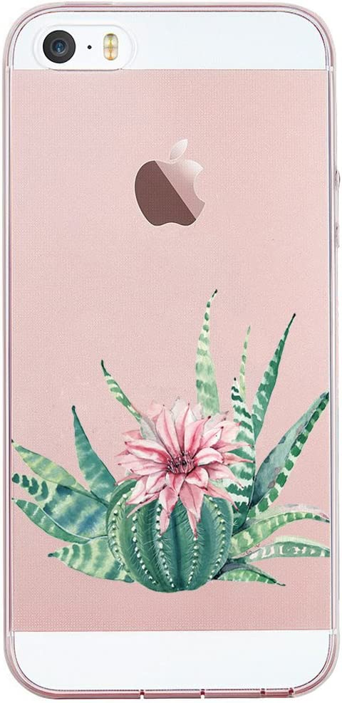 JIAXIUFEN Clear Slim Shockproof Flower Floral Pattern Soft Flexible TPU Silicone Back Cover Phone Case Compatible with iPhone 5 5S SE - Cactus Flower