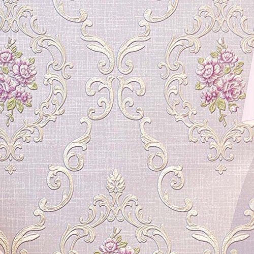YJZ Girl Room Wallpaper 3D European Style Damask Non-Woven Wallpaper Vintage Luxury Flowers Embossed Textured Home Bedroom Livingroom,Purple