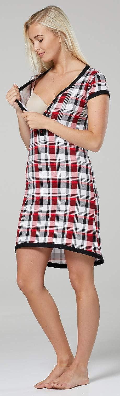 HAPPY MAMA. Damen Umstands-Nachthemd mit Stillfunktion. Stillshirt Kurzarm. 981p Schwarz & Rot Kariert