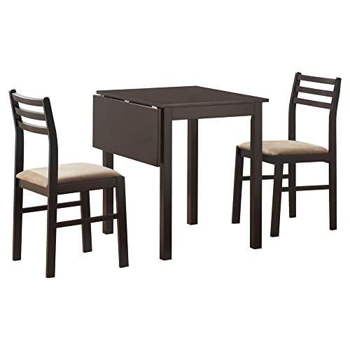 Monarch Specialties 3-Piece Solid-Top Drop Leaf Dining Set, Cappuccino