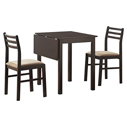 3 piece drop leaf dining set dining room monarch specialties 3piece solidtop drop leaf dining set cappuccino amazoncom