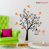 WallMantra Innovative Bird Tree Wall Sticker Premium Quality (120 cm x 150 cm Vinyl Home Decor)