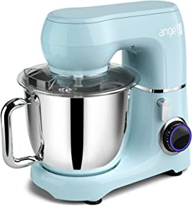 Mini angel Stand Mixer,10-Speed 5.5QT Kitchen Electric Mixer with DIY Color Stickers,Tilt-Head Food Mixer with Dough Hook, Wire Whisk, Flat Beater, Stainless Steel Bowl - Blue