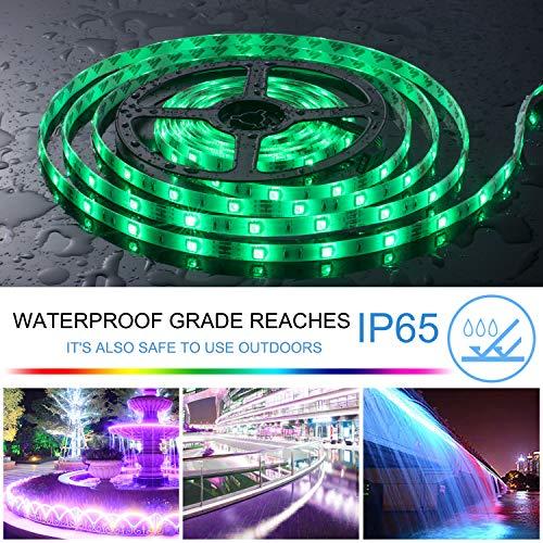 UTTORA 10M LED Streifen, LED Strip 10M 300LEDs RGB SMD 5050 Farbwechsel mit 44 Tasten Fernbedienung, IP65 Wasserdicht 12V Leistung Dekoration für Küchen Hochzeit Party Garten Haus Terrassen(33FT)