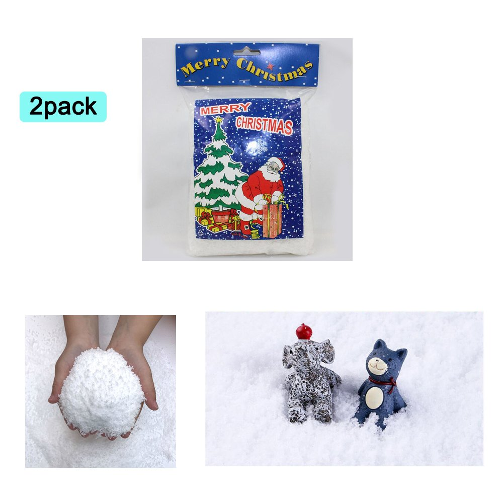 Zinnor Instant Snow Powder, Fake Artificial Snow - Magic Instant Fake Fluffy Snow Super Absorbant for Slime - Best Gifts for Science Activities, Play Dates, Parties, Games, Decoration,Holiday (2 PACK)