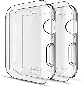 Simpeak Soft Screen Protector Bumper Case Compatible with Apple Watch 44mm Series 4 Series 5 Series 6 / SE, 2 Pack, Full Coverage Case Replacement for iWatch 44 mm, Clear+Clear