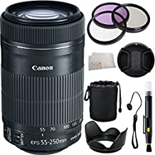 Canon EF-S 55-250mm F4-5.6 IS STM Lens for Canon SLR Cameras + 9PC Accessory Kit Includes 3 Piece Filter Kit (UV-CPL-FLD) + Lens Hood + Lens Cap & Keeper + Lens Pouch + Lens Cleaning Pen + Microfiber Cleaning Cloth - International Version (No Warranty)