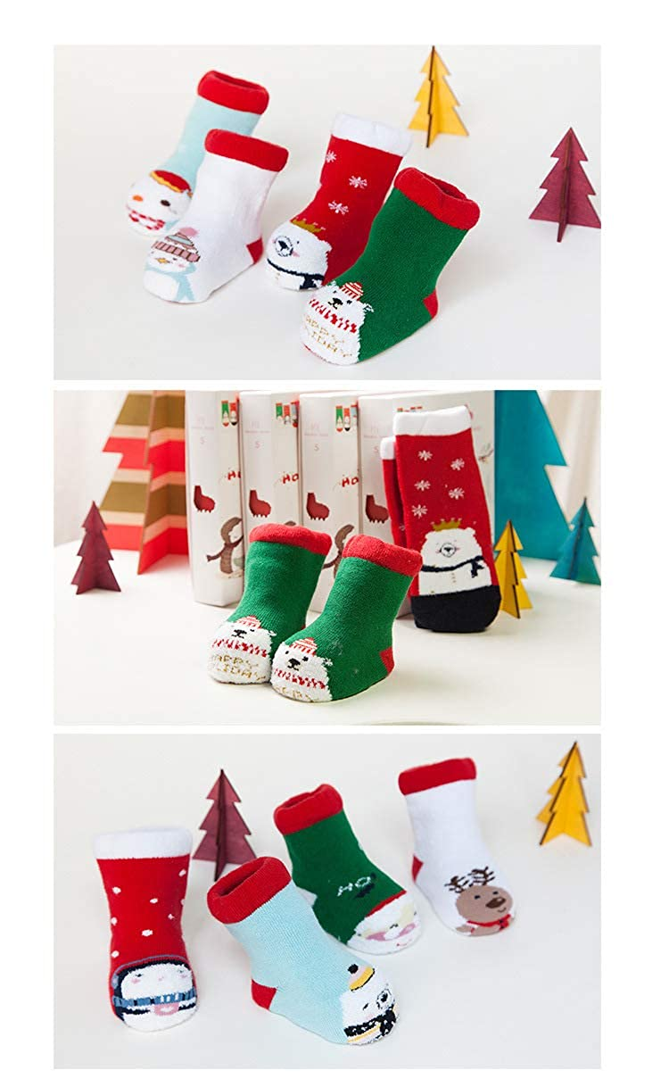 W/ärMe Christmas Socks Holiday 4 Pair Fluffy Soft Coral Velvet Thick Floor Home Warm Winter Socks for Baby Kids with Gift Box