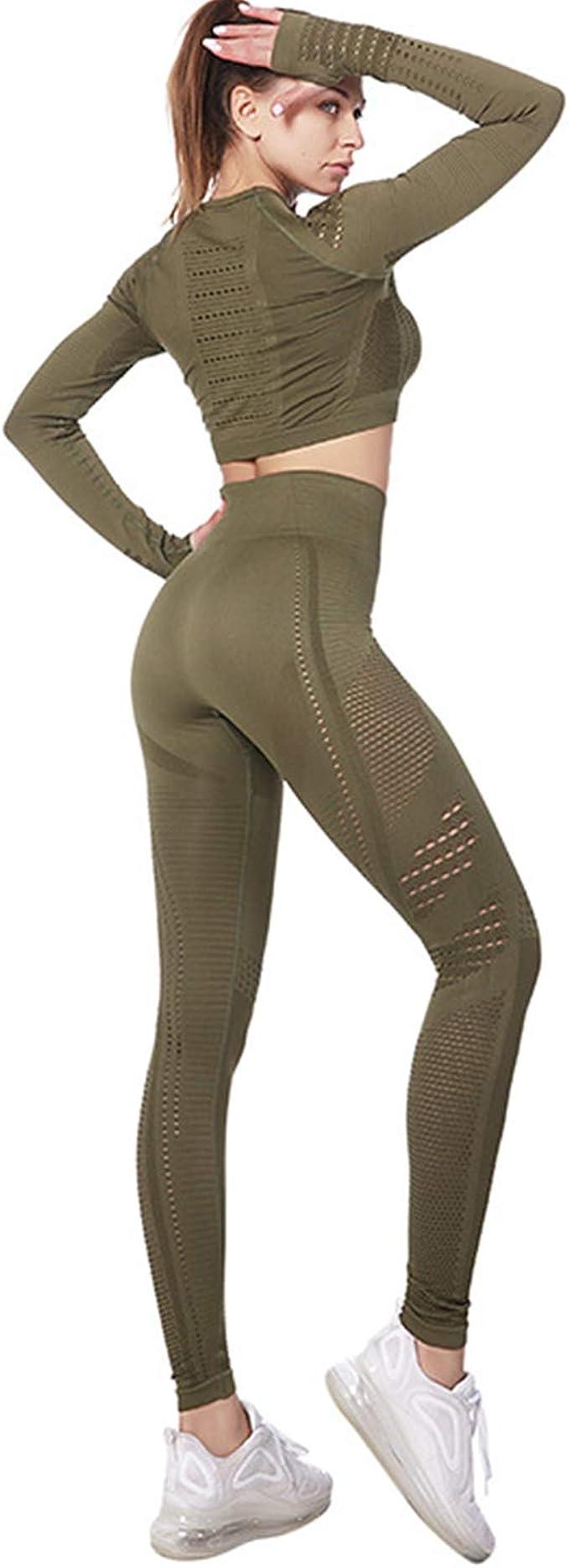 BOTRE Damen Traingsanzug Yoga Kleidung Anzug 5er-Set Sportanz/üge Jogginganzug Gym Fitness Kleidung Laufbekleidung Sportswear Sport Yoga Outfit Damen BH Leggings Set