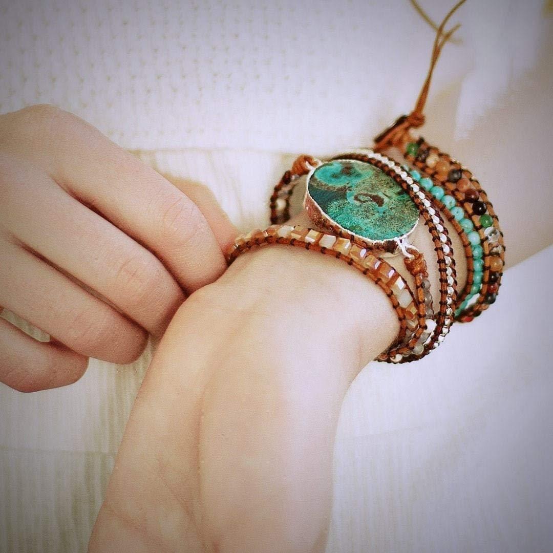 Handmade Azurea Gilded Stone Beaded Wrap Bracelet | Ocean Jasper Gilded Gold Wrap Bracelet | Green Blue Turquoise Leather Wrap Bracelet | Huge Stone Beaded Bracelet | Chan Luu Inspired Style