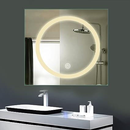 Anten® 18W 80X80CM Specchio Bagno con touch bordo luce luminoso LED ...