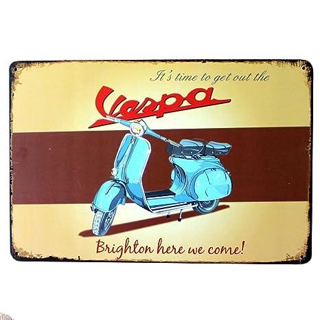 Chytaii.Cartel de Metal Vintage Tin Sign Motocicleta de Bar de Cibercafé Placa de Arte Mural Señal de Retro Poster Placa De Hierro para Pared Hogar ...