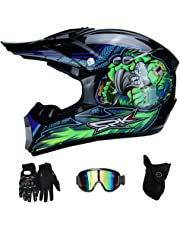 RAON Motocross Moto Casques de Moto et Gants & Goggles Certification D. O. T Enfants Quad Bike ATV Go Karting Casque
