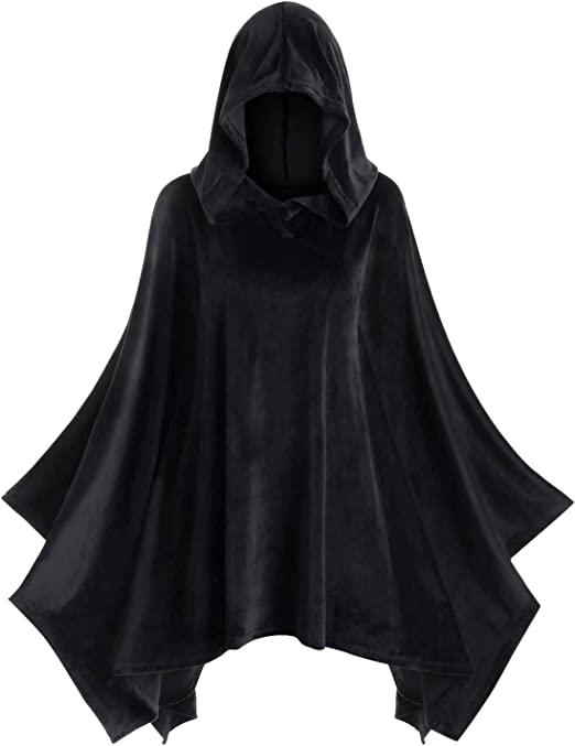 FANCY DRESS UK MADE DRACULA LARGE BLACK HOODED CAPE CAPE//CLOAK HALLOWEEN