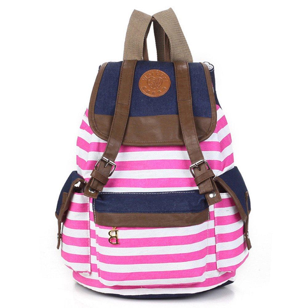 Amazon Marrywindix Unisex Canvas Backpack School Bag Vintage Stripe College Laptop Bags Rucksack For Teens Girls Boys Students Outdoor Travel Pink