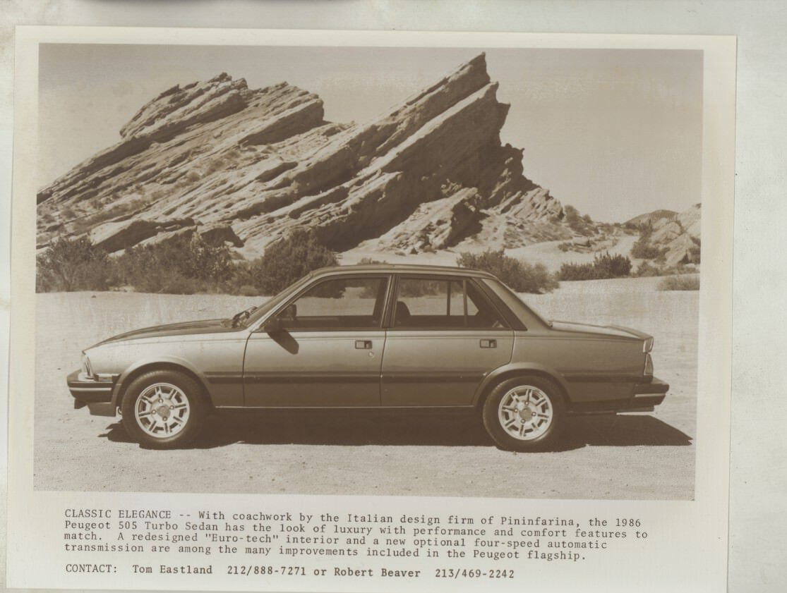 Amazon.com: 1986 Peugeot 505 Turbo US Press Kit Brochure: Entertainment Collectibles