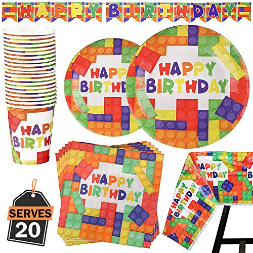 82 Piece Building Blocks Party Supplies Set Including Banner, Plates, Cups, Napkins, and Tablecloth, Serves 20]()
