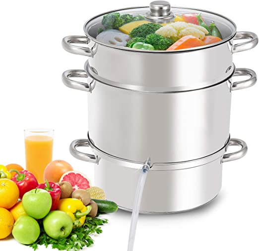 11-Quart Stainless Steel Fruit Juicer Steamer Stove Top w// Tempered Glass Lid