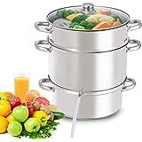 Giantex 11 Quart Juice Steamer Fruit Vegetables Juicer Steamers w/ Tempered Glass Lid, Hose, Clamp, Loop Handles Stainless St