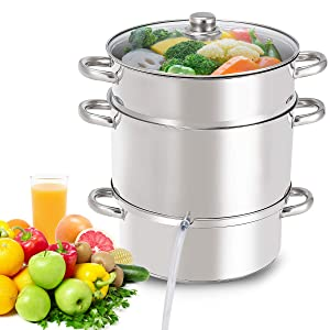 Giantex 11 Quart Juice Steamer Fruit Vegetables Juicer Steamers w/Tempered Glass Lid Hose With Clamp Loop Handles Stainless Steel Multipurpose Home Kitchen Furniture Steam Juicer Making Juice, Jelly,