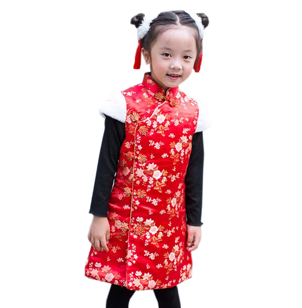 ACVIP Kids Girl's Winter Quilted Traditional Chinese Qipao Dress Tang Suit (Height 120cm-130cm, Style C)