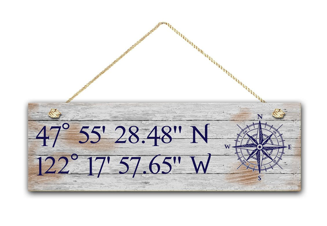"Augus Church Latitude Longitude Sign, Personalized 5.5""x17"" White Washed Style Sign, GPS Coordinates, Home Location, Housewarming Gift, Nautical Wooden Sign."