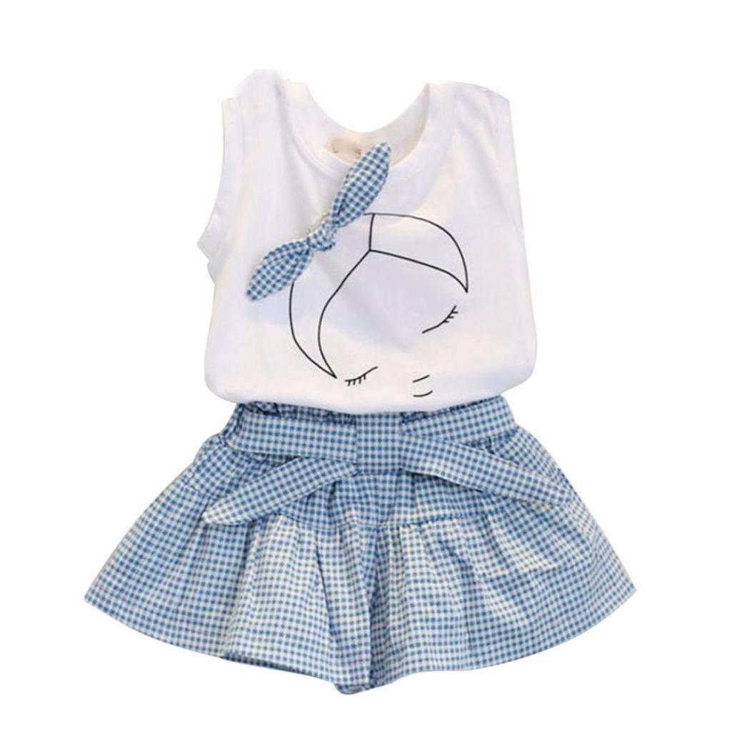 Vovotrade® I bambini dell'arco delle ragazze del modello ragazza shirt Top Shorts Set (90)