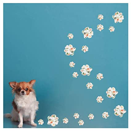16de62fdbb86 Amazon.com: Floral Paw Print Sticker, Dogs Paw Decals for Walls, Flower  Animals Footprint Wall Sticker, Car Windows Vinly Decal, Bumper Sticker Home  ...
