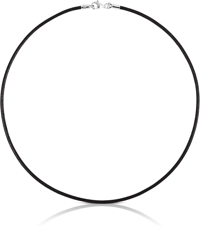 TOUS Collar Gargantilla Mujer de cuero con cierre de Plata de Primera Ley - Largo 40 cm