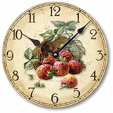 Item C6011 Vintage Style 10.5 Inch Rustic Strawberries Clock